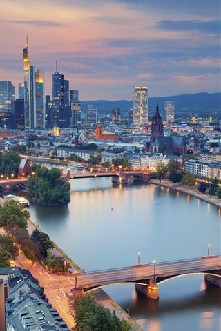 iPhone Wallpaper Beautiful city night, Germany, Frankfurt, skyscrapers, lights