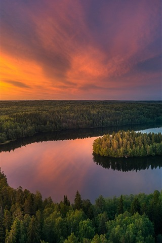 iPhone Wallpaper Beautiful nature landscape, lake, trees, forest, sunset