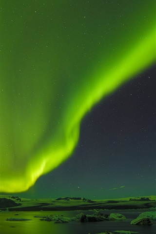 iPhone Wallpaper Beautiful northern lights, ice floes, night