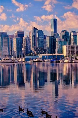 iPhone Wallpaper Canada, Vancouver, lake, water, ducks, skyscrapers, city