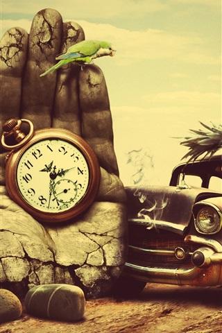 iPhone Wallpaper Cat driving a car, stone hand, clock, creative design