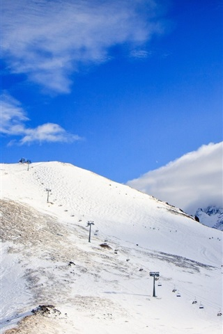 iPhone Wallpaper Caucasus, snow, mountains, clouds