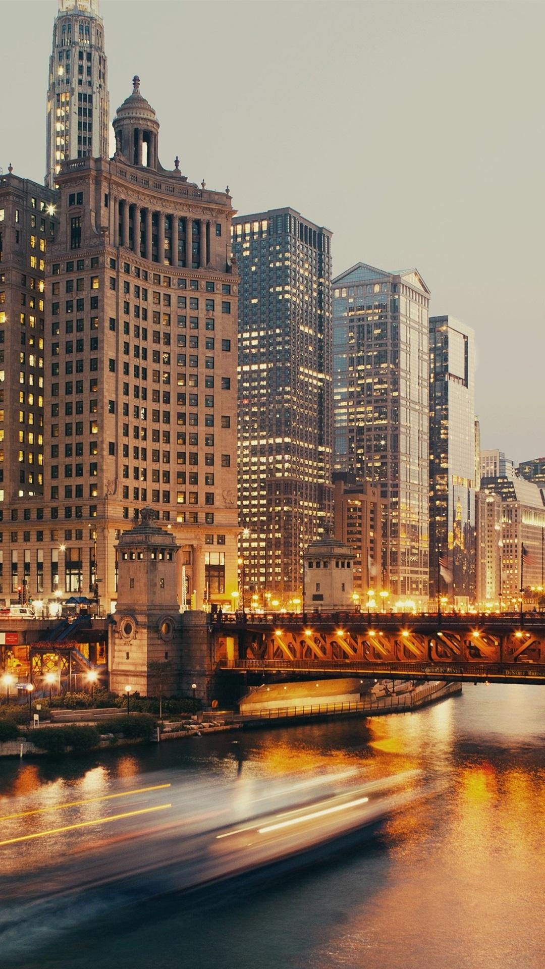 Chicago Skyscrapers Bridge River Boats Lights 1080x1920