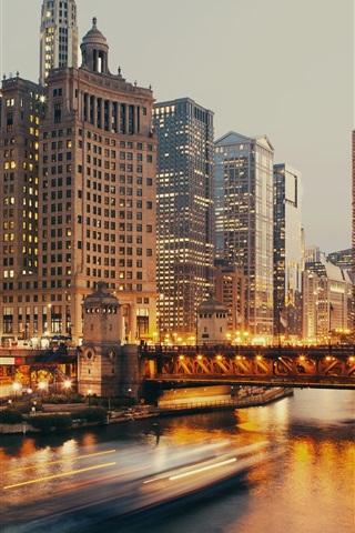 iPhone Wallpaper Chicago, skyscrapers, bridge, river, boats, lights
