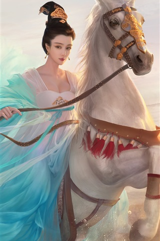 iPhone Wallpaper Chinese Princess, blue dress girl, horse, retro, art picture