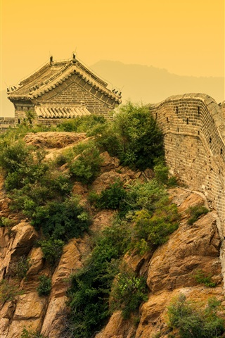 iPhone Wallpaper Chinese landscape, Great Wall, dusk