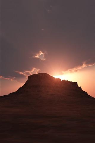 iPhone Wallpaper Desert, mountain, clouds, sunrise, dawn