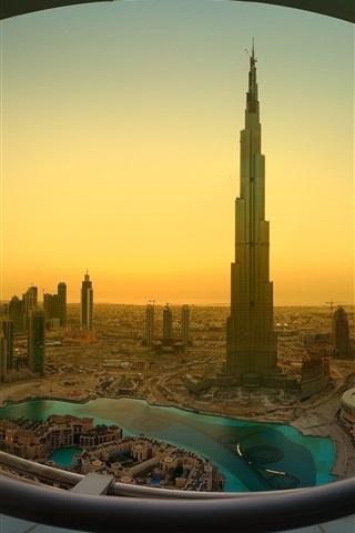 iPhone Wallpaper Dubai, Khalifa Tower, skyscrapers, morning
