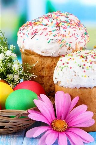 iPhone Wallpaper Easter eggs, cake, flowers