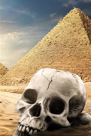 iPhone Wallpaper Egypt pyramid, desert, skull, camel, sunset