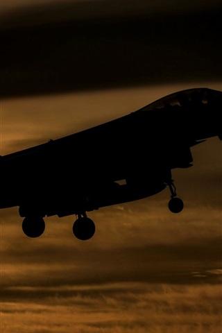 iPhone Wallpaper Eurofighter Typhoon FGR4 fighter flight at sunset