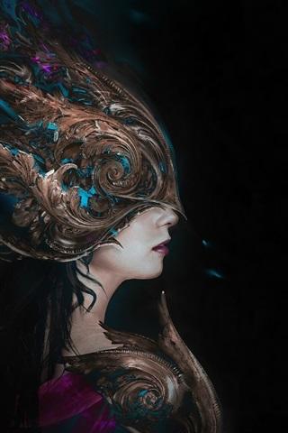 iPhone Wallpaper Fantasy girl side view, mask, black background
