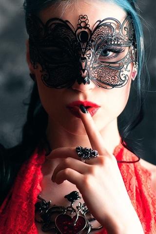 iPhone Wallpaper Fashion girl, makeup, mask