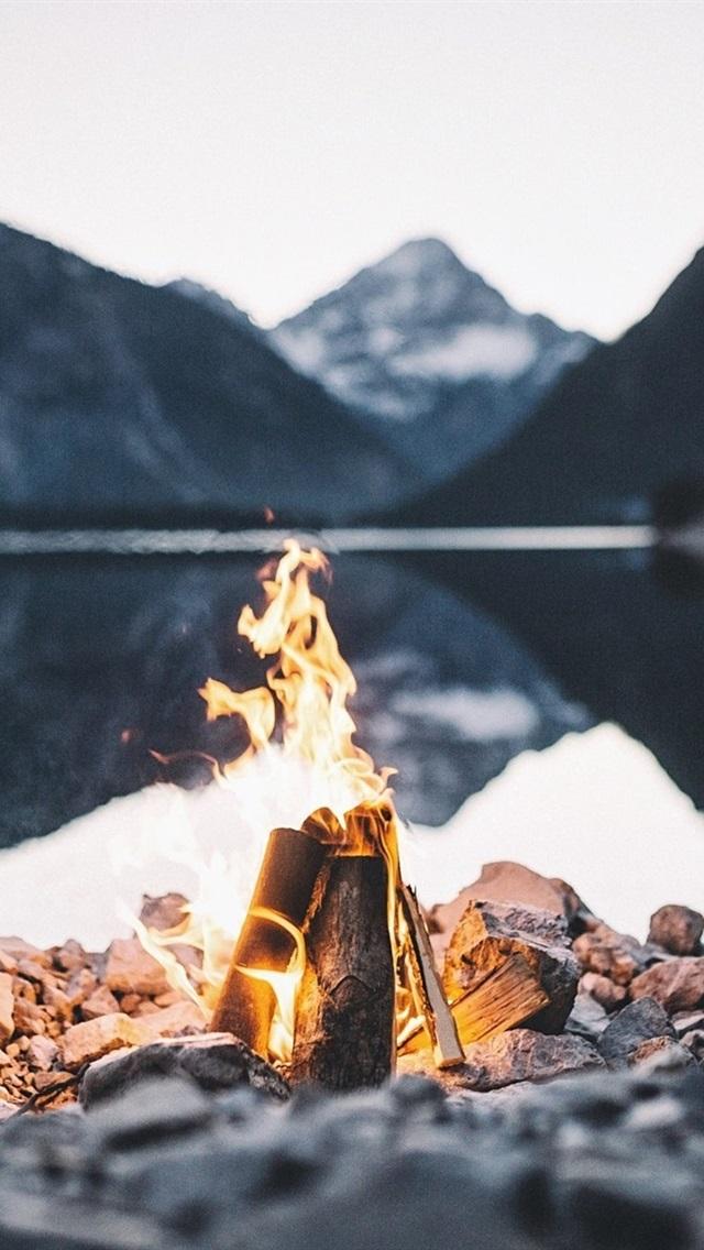 Fire Flame Stones Lake Dusk 640x1136 Iphone 5 5s 5c Se