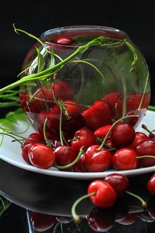 iPhone Wallpaper Fresh cherries, red, fruit, blue flowers
