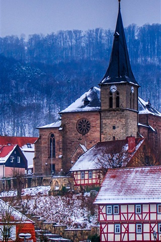 iPhone Wallpaper Germany, Thuringia, church, houses, town, trees, winter, dusk
