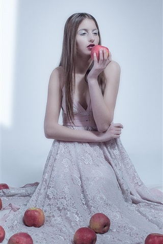iPhone Wallpaper Girl and apples, room