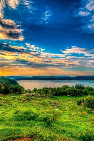 iPhone Wallpaper Grass, clouds, river, nature landscape