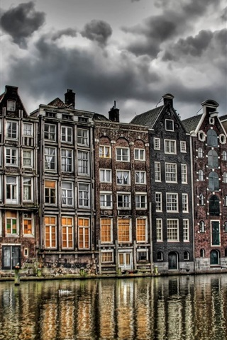 iPhone Wallpaper Holland, river, buildings, clouds, HDR style