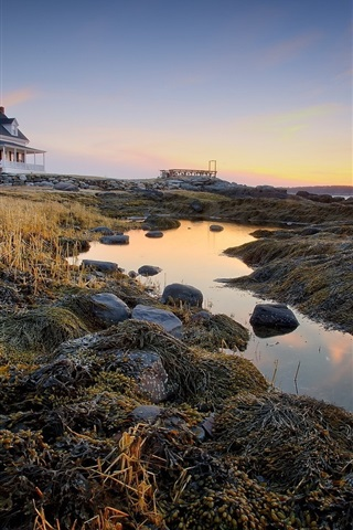 iPhone Wallpaper House, villa, coast, grass, dusk