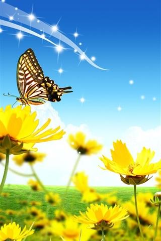 iPhoneの壁紙 家、黄色い花、蝶、ハトムギ、雲、青空