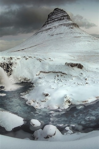 iPhone Wallpaper Iceland, winter, snow, mountain, river