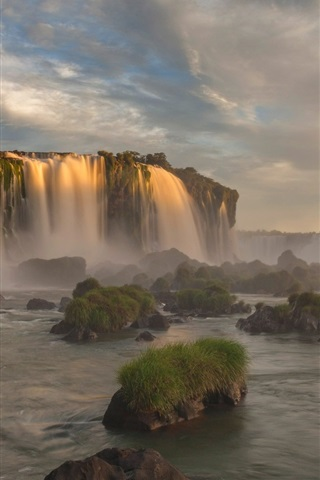 iPhone Wallpaper Iguazu National Park, Brazil, Parana, waterfall, dusk