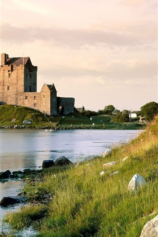iPhone Wallpaper Lake, grass, Dunguaire Castle, Ireland