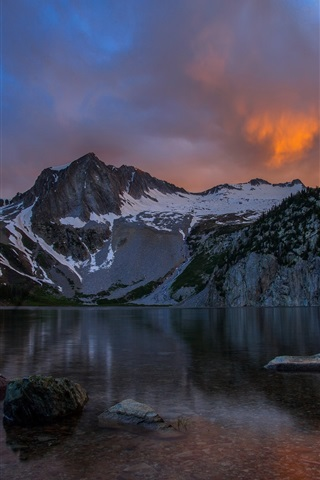 iPhone Wallpaper Lake, mountains, dusk, clouds