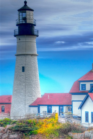iPhone Wallpaper Lighthouse, houses, blue sky, HDR style