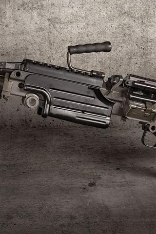 iPhone Wallpaper M249 SAW machine gun, weapon
