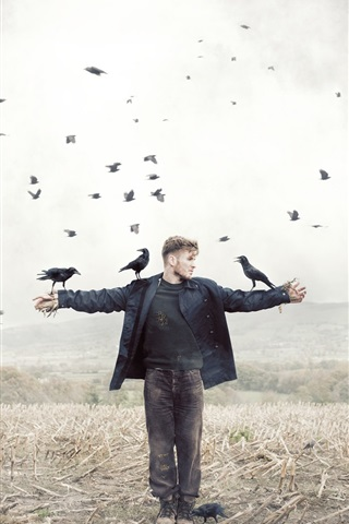 iPhone Wallpaper Man and crow in fields