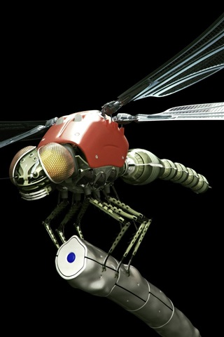 iPhone Wallpaper Metal robot dragonfly, black background, creative design