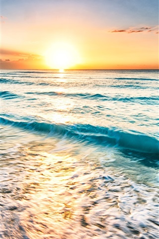 iPhone Wallpaper Mexico, sea, coast, beach, waves, sunset