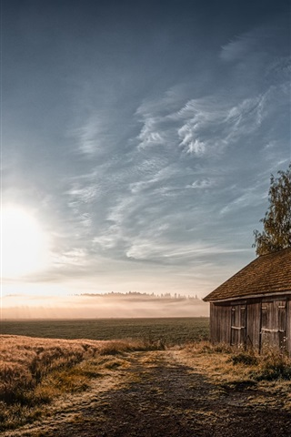 iPhone Wallpaper Morning, field, house, trees, sun