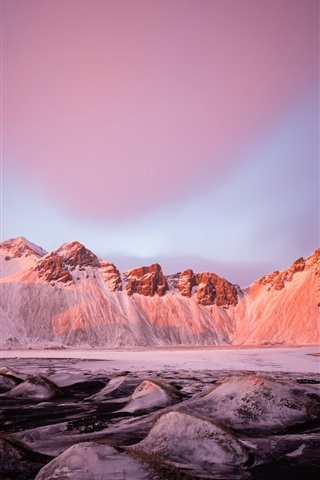 iPhone Wallpaper Mountains, snow, winter, lake, stones, sky, glow