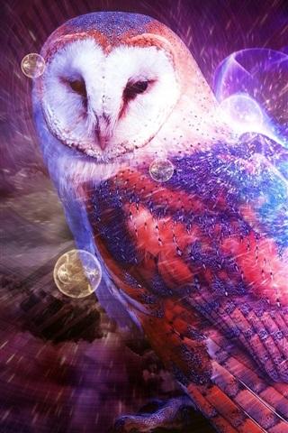 iPhone Wallpaper Multicolored owl, smoke, creative design
