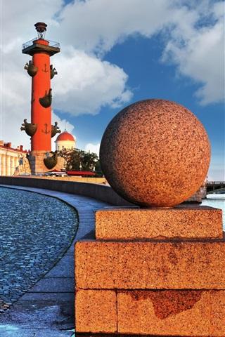 iPhone Wallpaper Neva embankment, St. Petersburg, Russia, bridge, river, road, dawn