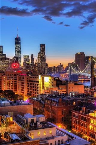 iPhone Wallpaper New York, Brooklyn Bridge, Manhattan, One World Trade Center, city, night, lights