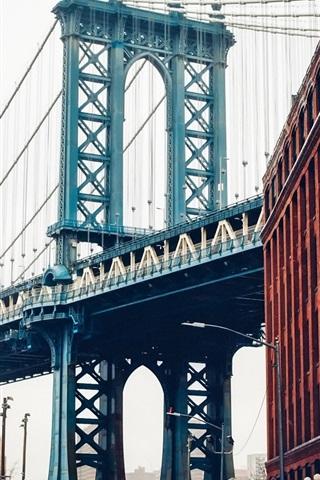 iPhone Wallpaper New York, USA, Brooklyn bridge, Manhattan, street, buildings