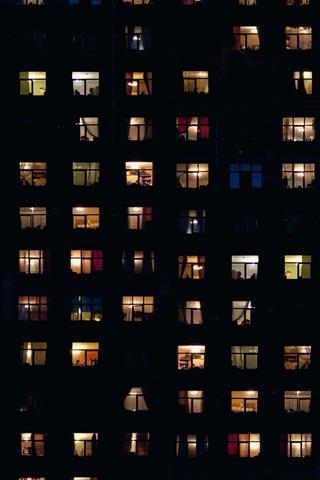 iPhone Wallpaper Night, houses, windows, light