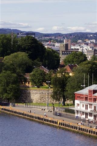 iPhone Hintergrundbilder Norwegen, Oslo, Gebäude, Bäume, Stadt, Fluss