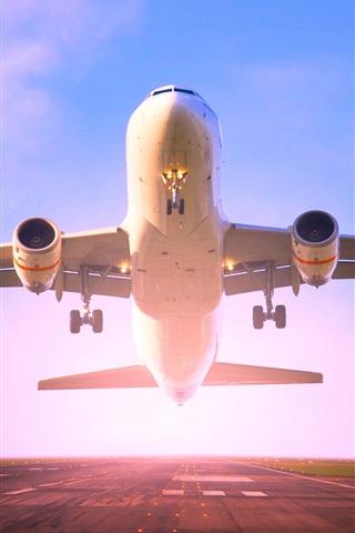 iPhone Wallpaper Passenger plane take off, runway