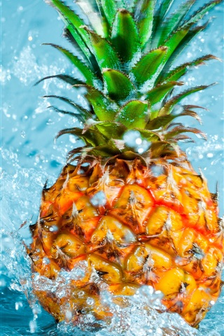 iPhone Wallpaper Pineapple falling in water, splash