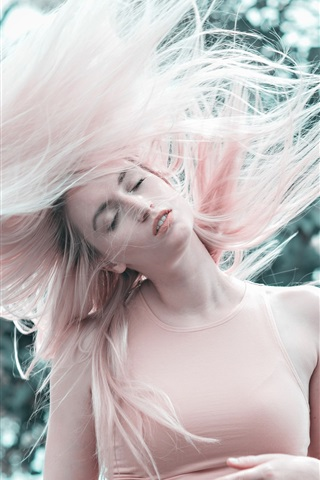 iPhone Wallpaper Pink hair girl, hairstyle, wind