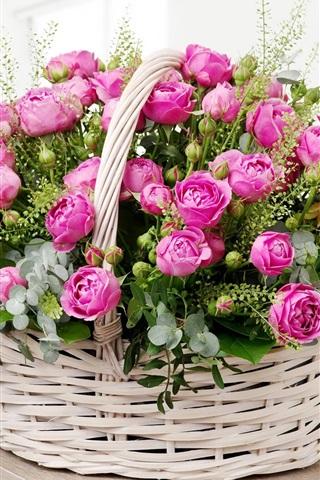 iPhone Wallpaper Pink roses, basket, room