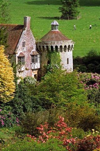 iPhone Wallpaper Scotney Castle, England, trees, flowers, grass