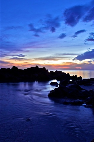 iPhone Wallpaper Sea, coast, rocks, clouds, sunset, dusk