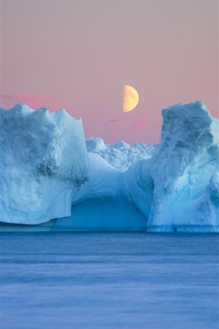 iPhone Wallpaper Sea, iceberg, moon, dusk