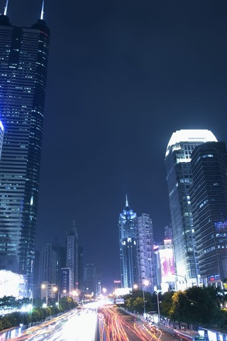 iPhone Wallpaper Shenzhen, city night, skyscrapers, road, lights, China